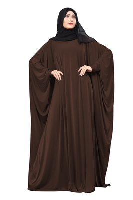 Justkartit Coffee Color Outdoor Wear Free Size Long Abaya With Chiffon Hijab For Women