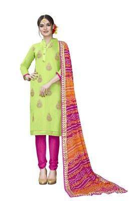 Green embroidered chanderi salwar