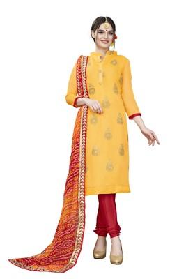 Yellow embroidered chanderi salwar