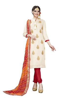 Beige embroidered chanderi salwar