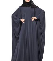 Justkartit Metallic Grey Color Daily Wear Plain Free Size Lycra Abaya With Chiffon Hijab For Women
