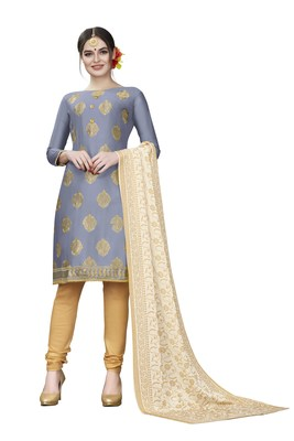 Grey Woven Cotton Salwar
