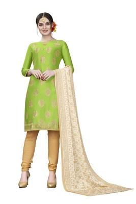 Green woven cotton salwar