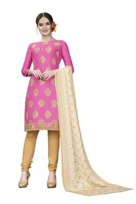 Pink woven cotton salwar