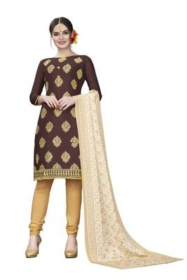 Brown woven cotton salwar