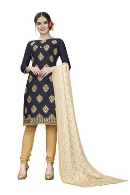 Navy-blue woven cotton salwar