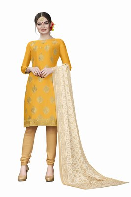 Yellow woven cotton salwar