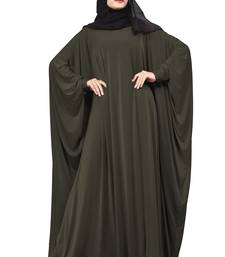Justkartit Olive Color Party Wear Plain Free Size Lycra Abaya With Chiffon Hijab For Women