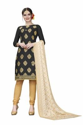 Black woven cotton salwar