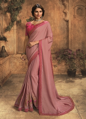 Mauve embroidered silk blend saree with blouse