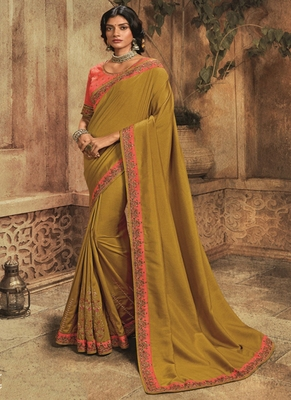 pear embroidered silk blend saree with blouse