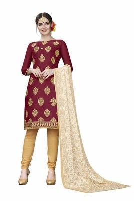 Maroon woven cotton salwar