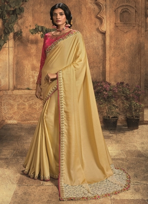 light yellow embroidered silk blend saree with blouse