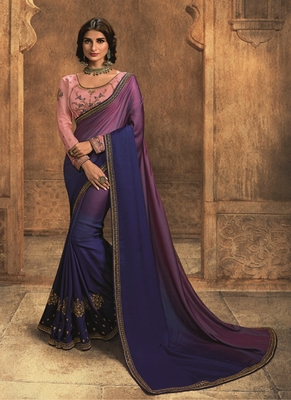 dark blue embroidered silk blend saree with blouse