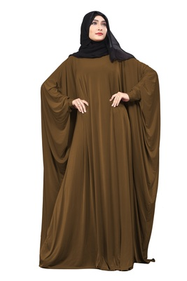 Justkartit Rust Color Occasion Wear Plain Free Size Lycra Abaya With Chiffon Hijab For Women
