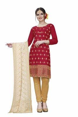 Red woven cotton salwar