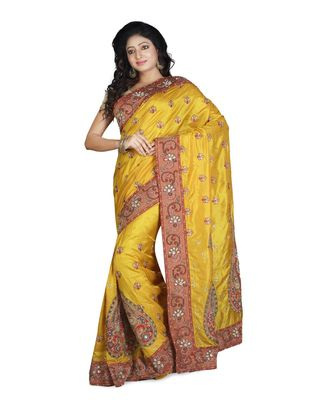 golden embroidered pure silk saree with blouse