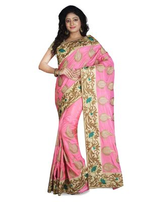 pink embroidered pure silk saree with blouse