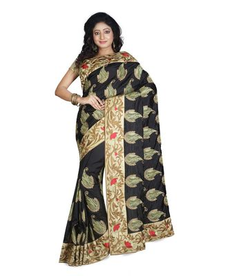 Black Embroidered Pure Silk Saree With Blouse