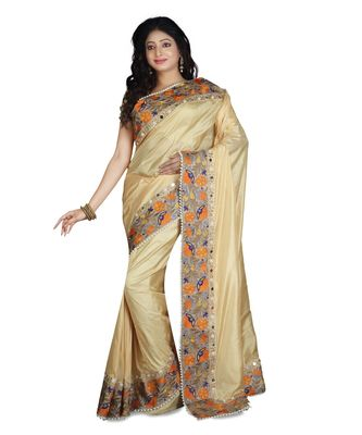 Gold Embroidered Pure Silk Saree With Blouse