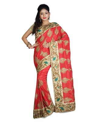 red embroidered pure silk saree with blouse