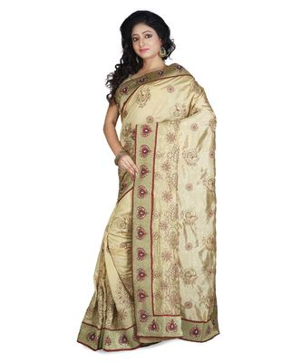 gold embroidered raw silk saree with blouse