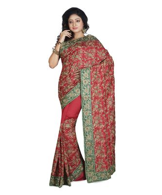 maroon embroidered raw silk saree with blouse