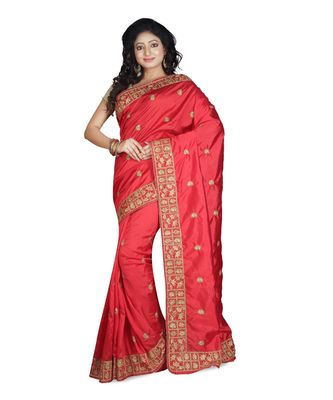 red embroidered raw silk saree with blouse