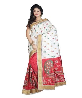 White Embroidered Raw Silk Saree With Blouse