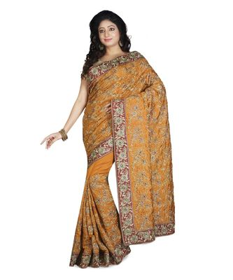 mustard embroidered raw silk saree with blouse