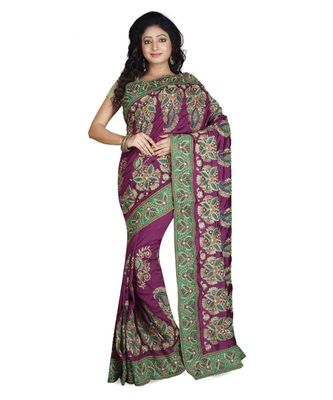 Purple Embroidered Raw Silk Saree With Blouse