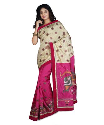 magenta embroidered raw silk saree with blouse