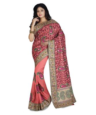 light pink embroidered raw silk saree with blouse