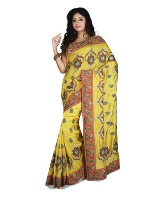 yellow embroidered raw silk saree with blouse