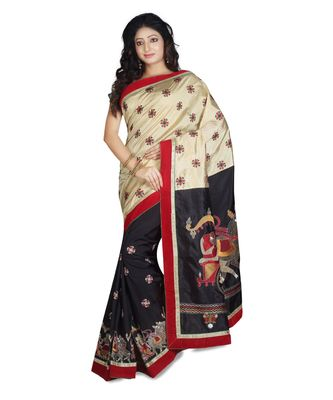 black embroidered raw silk saree with blouse