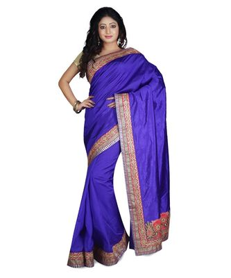 blue embroidered raw silk saree with blouse