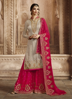 Grey embroidered satin salwar