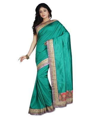 green embroidered raw silk saree with blouse