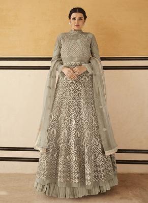 Beige embroidered net salwar