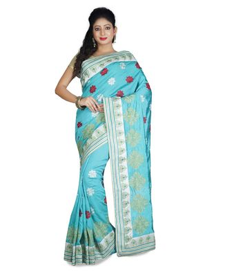 turquoise embroidered raw silk saree with blouse