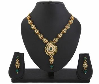 Kundan Green Indian Bollywood Pendant Necklace Earrings Set for Women