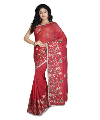 Red Embroidered Super Net Saree With Blouse
