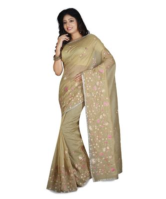 Gold Embroidered Super Net Saree With Blouse