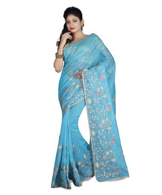 turquoise embroidered super net saree with blouse