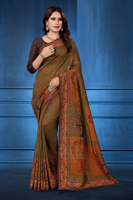Multicolor printed tussar silk saree with blouse