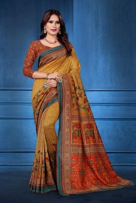 Mustard printed tussar silk saree with blouse