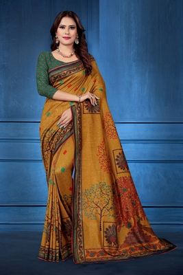 Mustard printed tussar silk saree with blouse