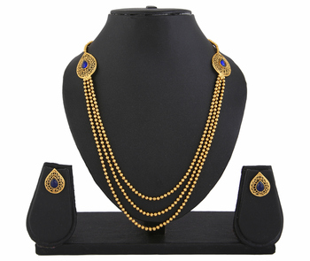Gold Plated Blue Stone 3 string Necklace Set