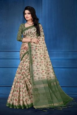 Cream printed cotton silk saree with blouse