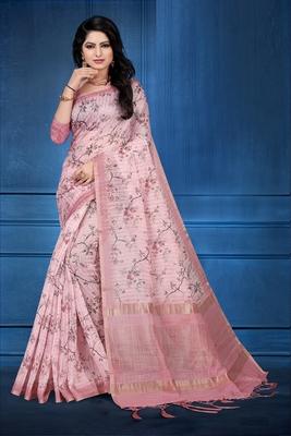 Pink printed cotton silk saree with blouse